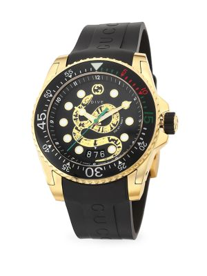 Gucci Dive 45MM Gold PVD King Snake Dial with Rubber Strap