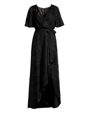 Long Burnout Ruffled Wrap Dress