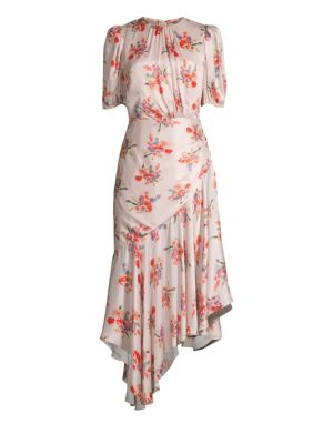Bettina Floral Asymmetric A-Line Midi Dress