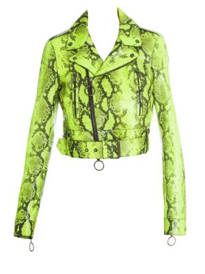 Long-Sleeve Python Print Asymmetric Moto Jacket in Fluo Yellow