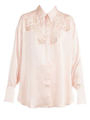 Silk & Lace Button-Down Blouse