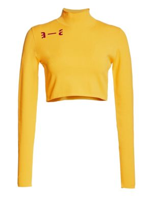 ARTICA ARBOX Logo Detail Cropped Turtleneck in Yellow