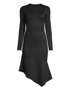 BLACK HALO | Maddox Asymmetric Sheath Dress | Goxip