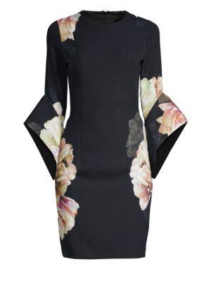 BLACK HALO | Lorrie Three-Quarter Bell Sleeve Sheath Dress | Goxip