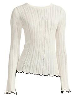 마쥬 MAJE Pointelle Ruffle-Trim Sweater,White