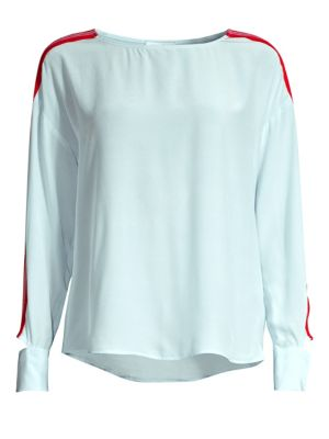 Lucienne Contrast Chiffon Blouse in Sky Blue