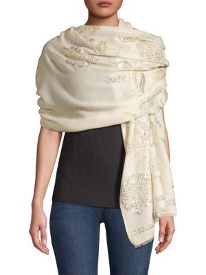 Sequined Flower Cashmere Palla Scarf