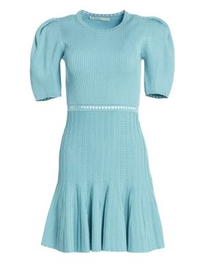 Ribbed Puff Sleeve Knit Dress