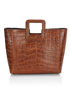Shirley Leather Croc-Embossed Bag