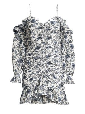 Carmen Ruched Cold-Shoulder Mini Dress