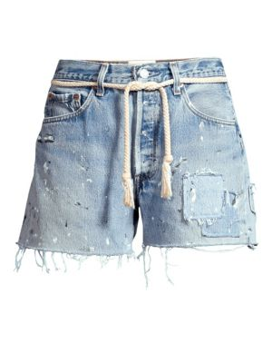 Dukes High-Rise Cut-Off Distressed Jeans Shorts