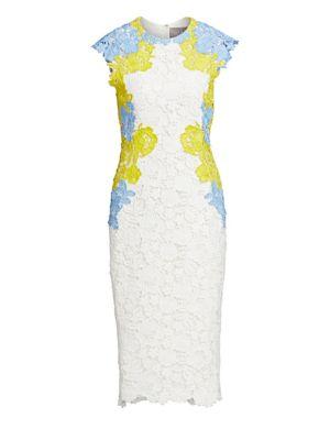 Lace Appliqué Fitted Sheath Dress