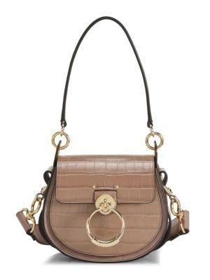 Tess Croc-Embossed Leather Saddle Bag