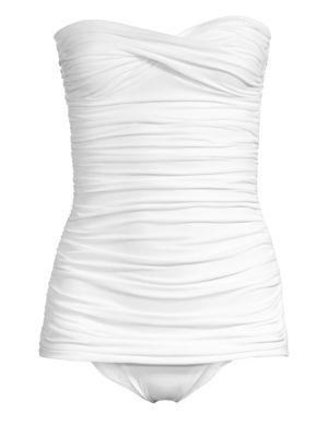 Walter Mio Strapless Ruched One-Piece Swimsuit