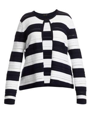 Mais Striped Pointelle Knit Cardigan