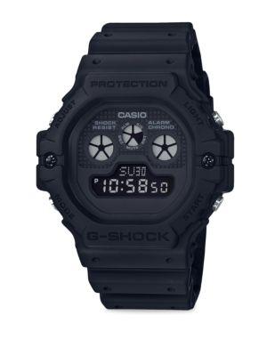 Digital Black Resin Strap Watch