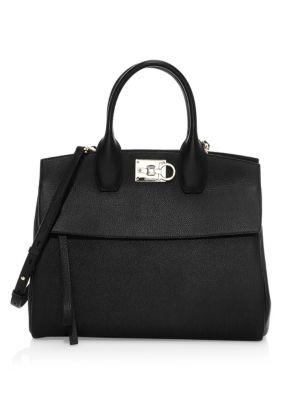Medium Studio Leather Top Handle Bag