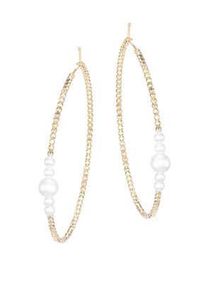 14K Yellow Gold & White Akoya Pearl Large Hoop Earrings