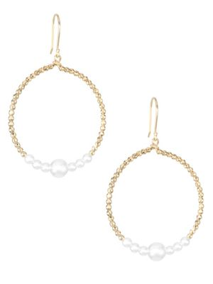 14K Yellow Gold & White Round Akoya Pearl Drop Hoop Earrings
