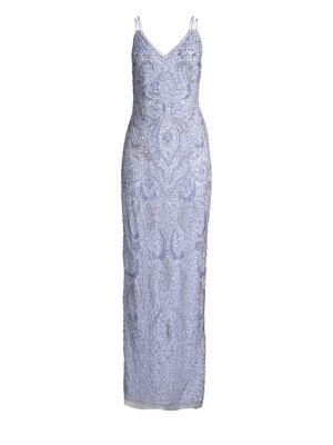 Sleeveless Allover Beaded Gown