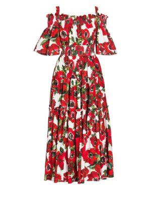 Smocked Cold-Shoulder Midi Fit-And-Flare Dress