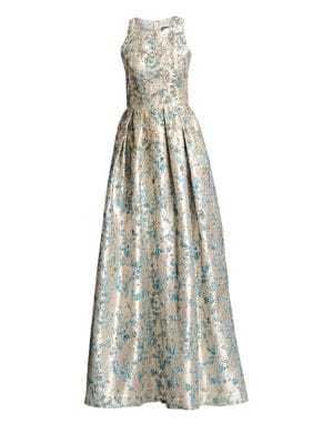 Metallic Floral Jacquard Ball Gown