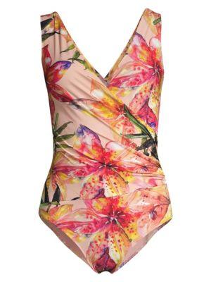Nastya Floral Surplice One-Piece Swimsuit