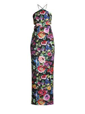 Floral Cutout Halter Dress