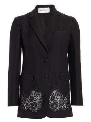 Lace Inset Wool & Silk Blazer
