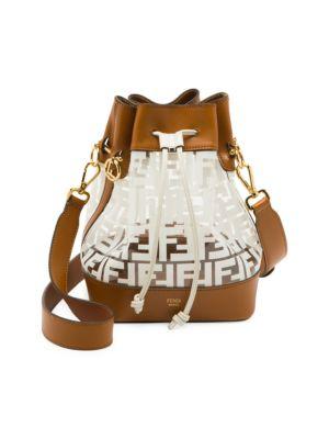 Mon Tresor Leather-Trimmed Plastic Bucket Bag