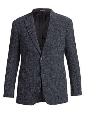Grid Wool & Silk Single-Breasted Blazer