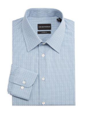 Modern-Fit Geometric Square Dress Shirt