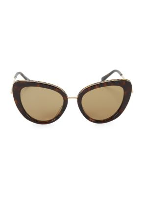 50MM Chain-Embellished Separated Cat Eye Sunglasses