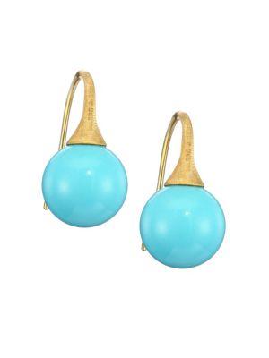 Africa 18K Yellow Gold & Turquoise Dangle Earrings