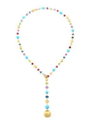 Africa 18K Yellow Gold, Diamond, Turquoise & Mixed Gemstone Lariat Necklace