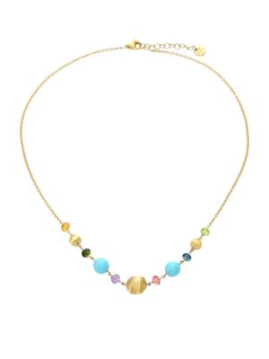 Africa 18K Yellow Gold, Turquoise & Mixed Gemstone Necklace