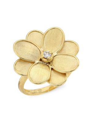 Petali 18K Yellow Gold & Diamond Flower Ring
