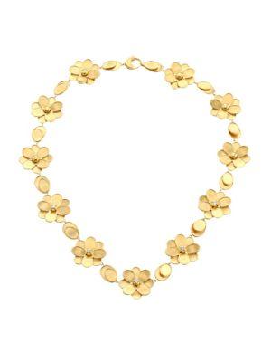 Petali 18K Yellow Gold & Diamond Flower Collar Necklace