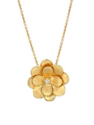 Petali 18K Yellow Gold & Diamond Flower Pendant Necklace