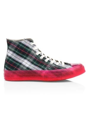 Translucent Midsole Chuck 70 High-Top Plaid Canvas Sneakers