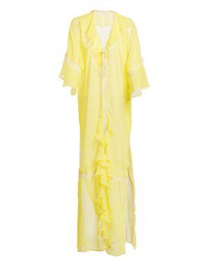Gingham Ruffle Long Robe