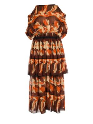 Parakeet Print Tiered Georgette Dress
