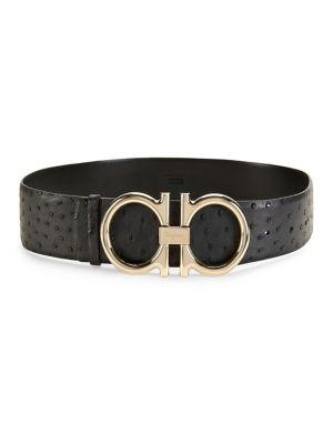 Gancini Ostrich Leather Belt