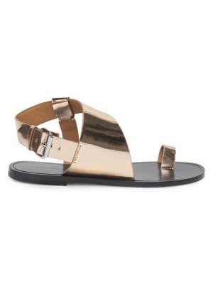 Joostee Metallic Leather Slingback Sandals