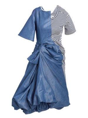 Mixed Denim & Striped Knot Dress