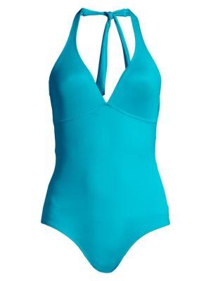 VILEBREQUIN   Fames Solid Halter One-Piece Swimsuit   Goxip