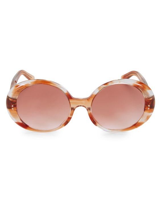 CELINE 57MM Flamed Havana Frame Round Sunglasses