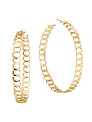14K Yellow Gold Wide Bond Link Hoops/2.25""