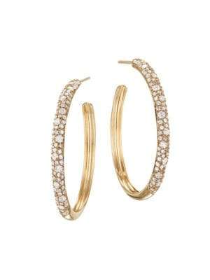 14K Yellow Gold & Diamond Cluster Hoop Earrings