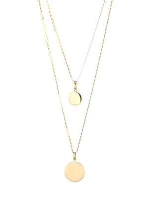 14K Yellow Gold Double Strand Disc Necklace